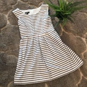 Navy and White Striped Fit and Flare Dress, Size 9